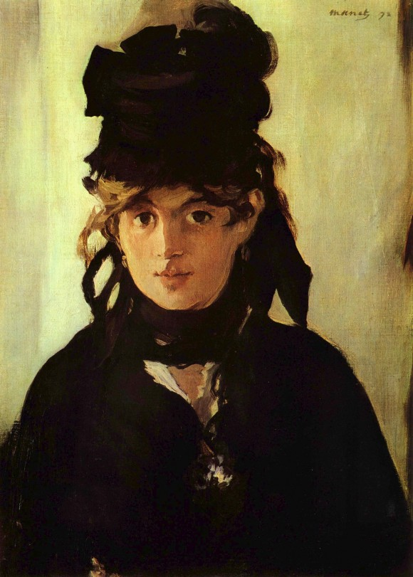 Edouard Manet 040 berthe Morisot 1872 veilchen violen 580x811 De intrigerende vrouwen van Edouard Manet